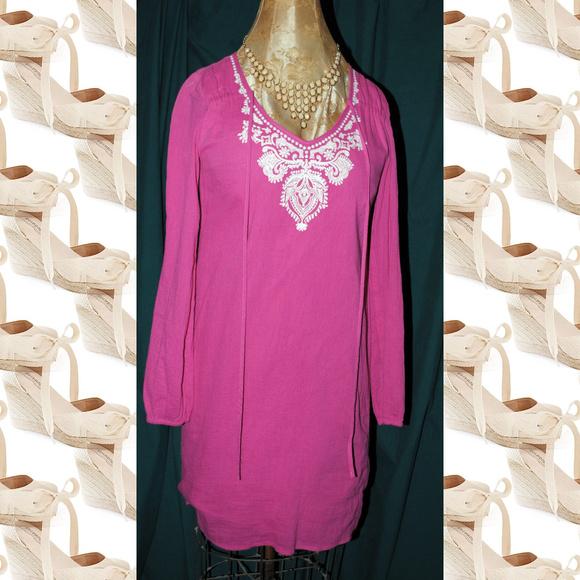 MICHAEL Michael Kors Dresses & Skirts - MICHAEL MICHAEL KORS Pink Linen Embroidered Dress